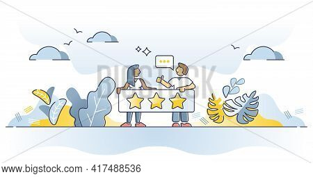 Feedback As Product Or Service Evaluation With Stars Rating Outline Concept. Business Customer Comme