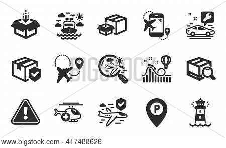 Lighthouse, Flight Insurance And Ship Travel Icons Simple Set. Packing Boxes, Search Package And Par