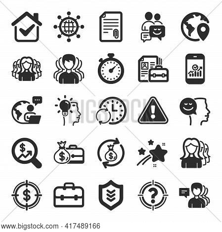 Business User Icons. Group, Profile And Teamwork Icons. Portfolio, Timer And Security Shield Symbols