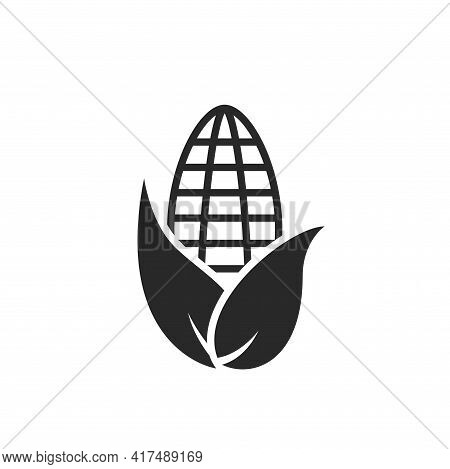 Corn Icon. Agriculture, Farming, Agronomy, Eco And Environment Symbol. Isolated Vector Image In Flat