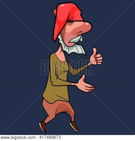 Funny Cartoon Bearded Gnome In Red Cap Walks And Shows Thumbs Up