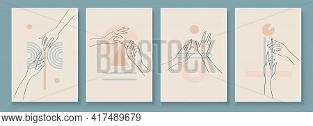 Modern Abstract Art Illustration With Woman Hands. Set Of Aesthetic Organic Art In One Line Style Fo