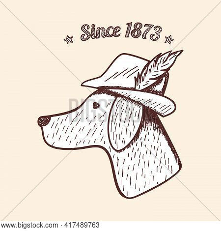 Hunting Retro Sketch Design. Beagle Hunting Dog Head Silhouette With Hat And Feather. Completed Hunt