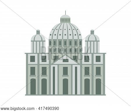 Roman Historical Building Facade, Flat Cartoon Vector Illustration Isolated.
