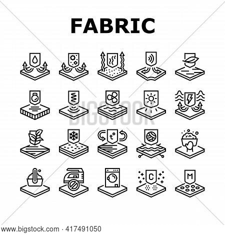 Fabrics Properties Collection Icons Set Vector. Elastic And Stretched, Warm And Cool, Antibacterial