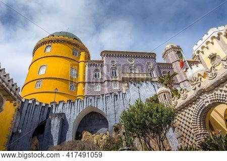 Sintra, Portugal - March 28, 2018: Famous Portuguese Landmark, Pena Palace Or Palacio Da Pena And Pe