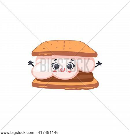 Smore With Marshmallow With Kawaii Face, Cartoon Vector Illustration Isolated.