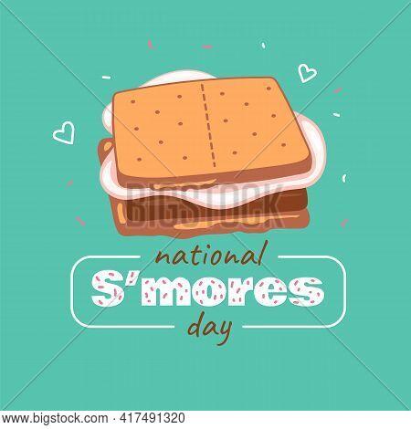 Smores Day Banner O With Childrens Smores Dessert Cartoon Vector Illustration.