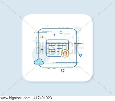 Star Line Icon. Abstract Square Vector Button. Feedback Rating Sign. Web Favorite Symbol. Favorite L