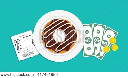 Tip And Bill Of Money In Restaurant. Plate With Donut, Receipt And Payment. Cheque From Waiter And P