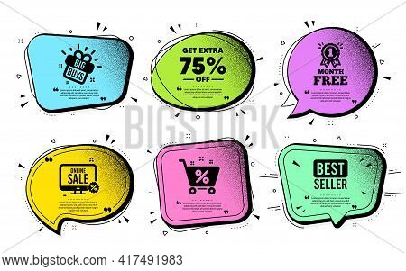 Get Extra 75 Percent Off Sale. Speech Bubble With Dotwork Vector. Discount Offer Price Sign. Special