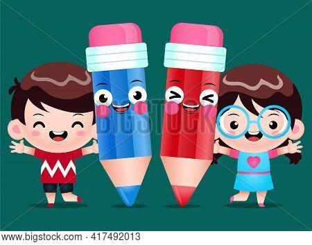 Illustration Vector Graphic Of Cartoon Happy Children And Pencils. Perfect For Mascot, Children Book