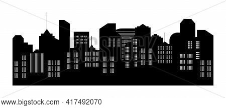 City Silhouette. Skyline With Building. Cityscape With Apartment, Skyscraper, House And Architecture