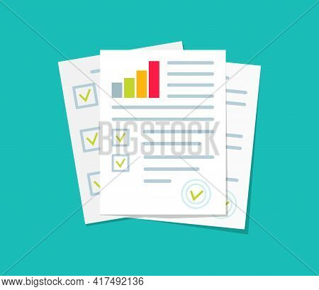 Audit, Financial Report And Research. Document Of Analyze With Chart Of Result. Icon For Data, Audit