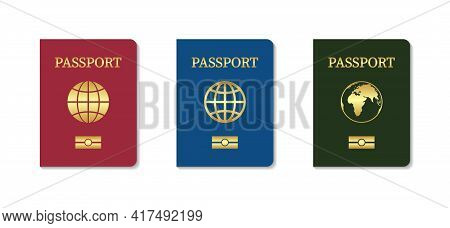 Passport Cover. Leather Cover Of Passport Citizen. Template Of Biometric International Document With