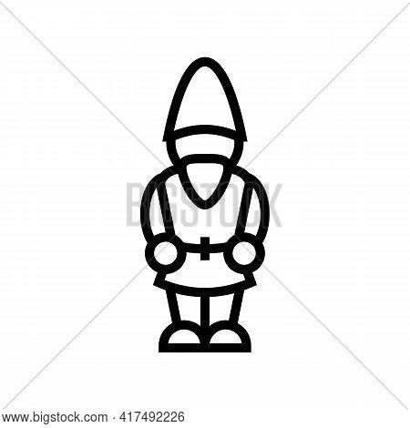 Garden Gnome Line Icon Vector. Garden Gnome Sign. Isolated Contour Symbol Black Illustration