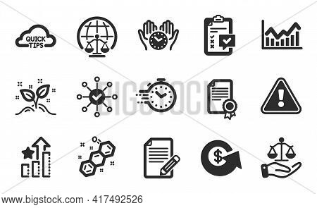 Certificate, Safe Time And Quick Tips Icons Simple Set. Dollar Exchange, Infochart And Survey Check