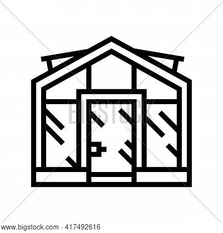 Glass Greenhouse Line Icon Vector. Glass Greenhouse Sign. Isolated Contour Symbol Black Illustration
