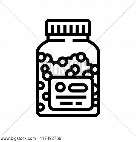 Vitamins Homeopathy Bottle Line Icon Vector. Vitamins Homeopathy Bottle Sign. Isolated Contour Symbo