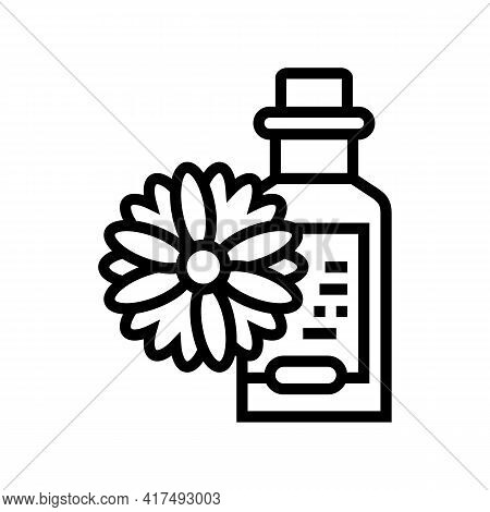Chamomile Drink Homeopathy Liquid Line Icon Vector. Chamomile Drink Homeopathy Liquid Sign. Isolated