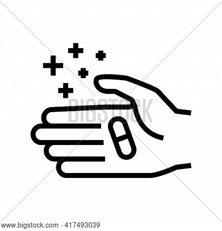Hand Holding Homeopathy Pill Line Icon Vector. Hand Holding Homeopathy Pill Sign. Isolated Contour S