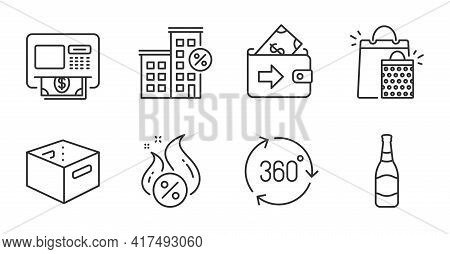 360 Degree, Office Box And Shopping Bags Line Icons Set. Wallet, Hot Loan And Beer Bottle Signs. Loa