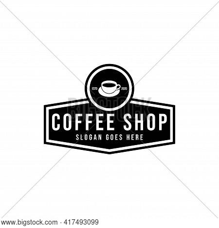 Coffee Shop Logo Design Template. Retro Coffee Emblem. Vector