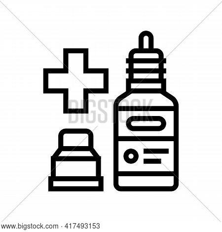 Nasal Or Eye Drops Homeopathy Line Icon Vector. Nasal Or Eye Drops Homeopathy Sign. Isolated Contour