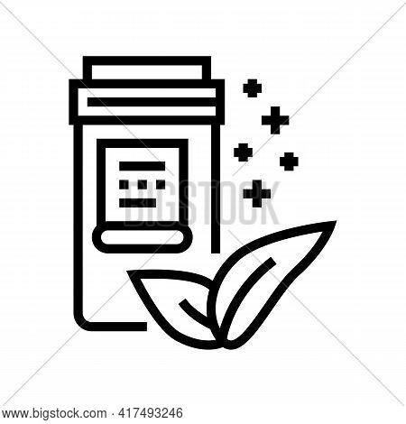 Natural Homeopathy Vitamin Or Medical Pills Packaging Line Icon Vector. Natural Homeopathy Vitamin O
