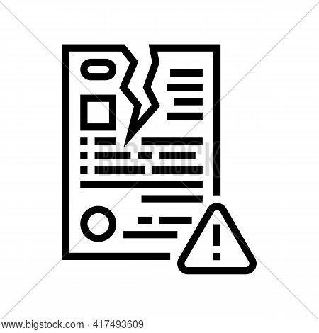 Breach Of Contract Law Dictionary Line Icon Vector. Breach Of Contract Law Dictionary Sign. Isolated
