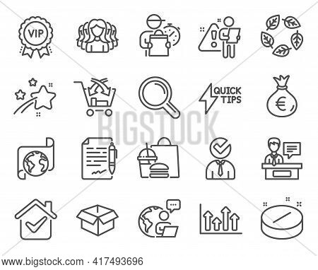 Business Icons Set. Included Icon As Medical Tablet, Organic Tested, Agreement Document Signs. Resea