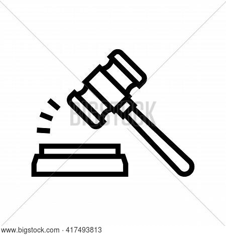Judge Hammer Line Icon Vector. Judge Hammer Sign. Isolated Contour Symbol Black Illustration
