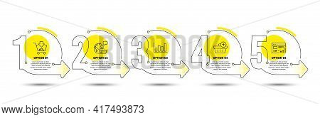 Web Report, Add Purchase And Report Diagram Line Icons Set. Timeline Process Infograph. Shopping Sig