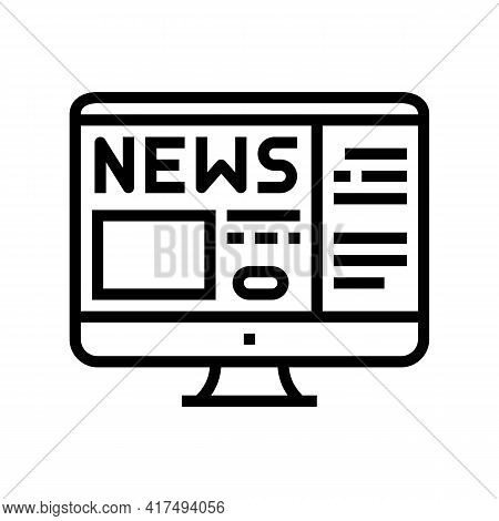 Reading News Mens Leisure Line Icon Vector. Reading News Mens Leisure Sign. Isolated Contour Symbol