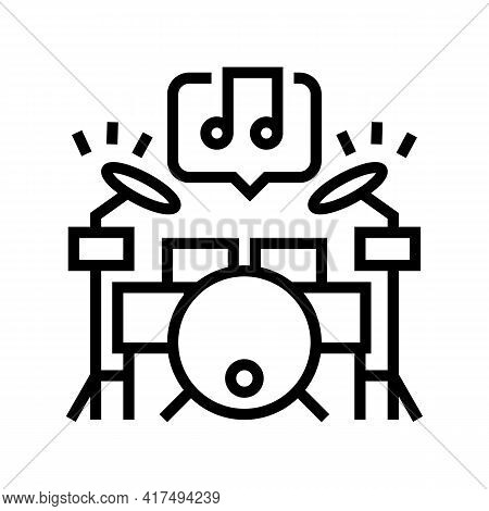 Play Musical Instrument Mens Leisure Line Icon Vector. Play Musical Instrument Mens Leisure Sign. Is