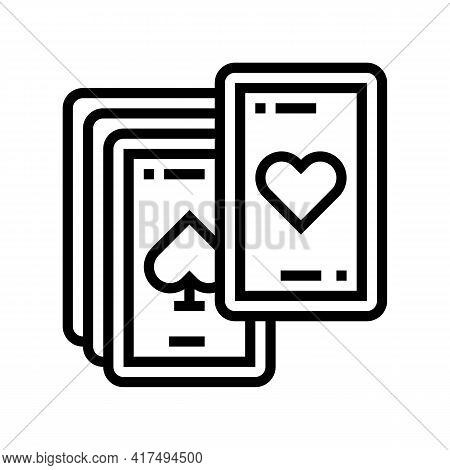 Play Cards Mens Leisure Line Icon Vector. Play Cards Mens Leisure Sign. Isolated Contour Symbol Blac