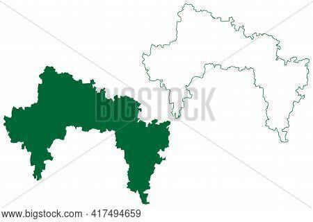 Bangalore Rural District (karnataka State, Republic Of India, Bangalore Division) Map Vector Illustr