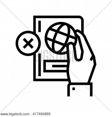 Lost Passport Document Refugee Line Icon Vector. Lost Passport Document Refugee Sign. Isolated Conto