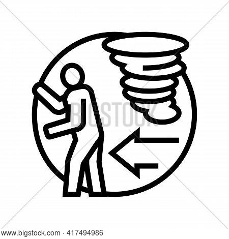 Escape From Hurricane Refugee Line Icon Vector. Escape From Hurricane Refugee Sign. Isolated Contour