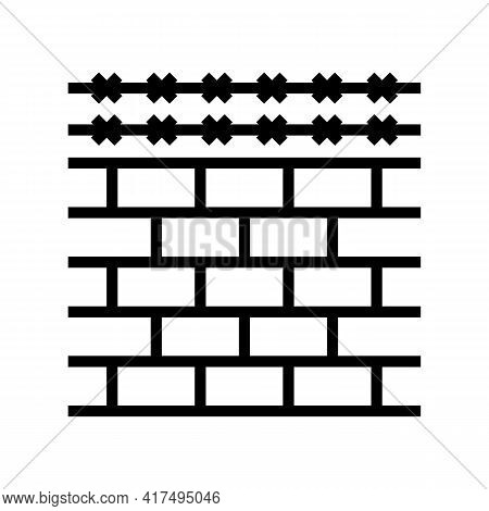 Fence With Barbed Wire Line Icon Vector. Fence With Barbed Wire Sign. Isolated Contour Symbol Black