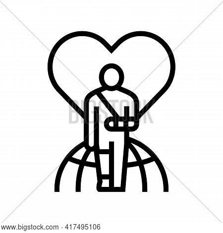 Invalid Patient Refugee World Help Line Icon Vector. Invalid Patient Refugee World Help Sign. Isolat