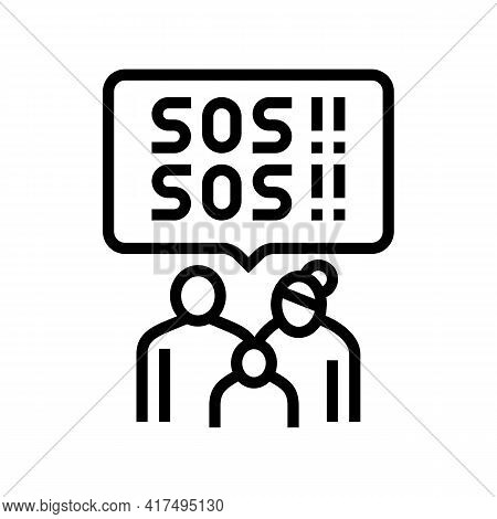 Family Refugee Sos Line Icon Vector. Family Refugee Sos Sign. Isolated Contour Symbol Black Illustra