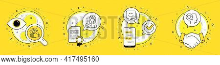 Smile Face, Clapping Hands And Nurse Line Icons Set. Licence, Cell Phone And Deal Vector Icons. Roma