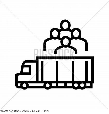 Truck Transportation Refugee Line Icon Vector. Truck Transportation Refugee Sign. Isolated Contour S