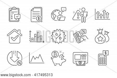 Diagram, Diagram Graph And Bitcoin Coin Line Icons Set. Upper Arrows, Financial Documents And Credit