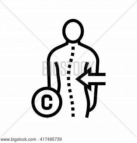 C-shaped Scoliosis Line Icon Vector. C-shaped Scoliosis Sign. Isolated Contour Symbol Black Illustra