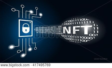 Concept Digital Key With Text Nft, Non Fungible Token. Cryptographic Unique Token. Chip Data Memory