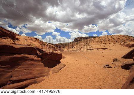 Page, Arizona / Usa - August 05, 2015: Landscape Near Upper Antelope Canyon, Page, Arizona, Usa