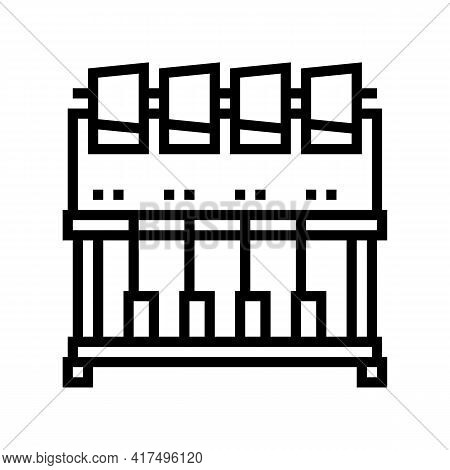 Industrial Embroidery Machine Line Icon Vector. Industrial Embroidery Machine Sign. Isolated Contour
