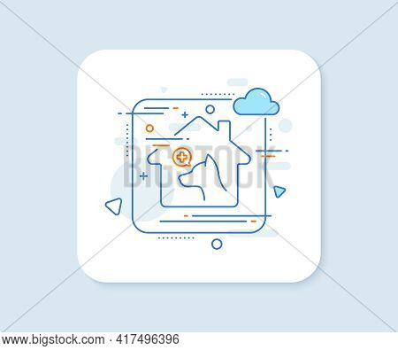 Veterinary Clinic Line Icon. Abstract Vector Button. Dog Care Sign. Pets Health Symbol. Veterinary C